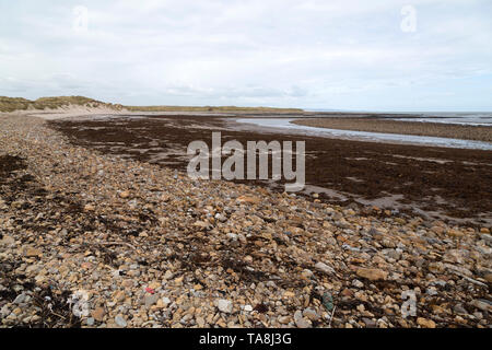 Sandham Bay, a stony cove on Lindisfarne in Northumberland, England. Lindisfarne is also referred to as Holy Island. - Stock Photo