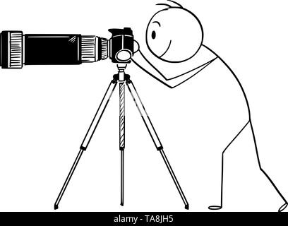 Vector cartoon stick figure drawing conceptual illustration of man or photographer taking photo with camera with big and long zoom or telephoto lens mounted on tripod. - Stock Photo