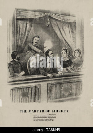 The Martyr of Liberty, Assassination of President Lincoln, Ford's Theatre, Washington, April 14, 1865 - Stock Photo