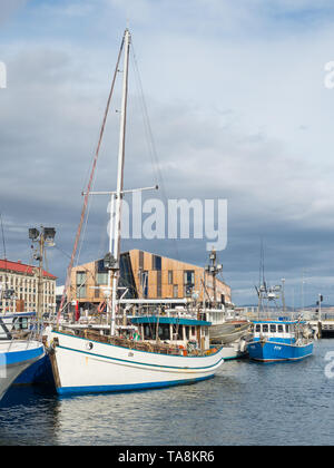 TASMANIA, AUSTRALIA - FEBRUARY 16, 2019: A yacht moored at Elizabeth Street Pier in Hobart in Tasmania, Australia. - Stock Photo