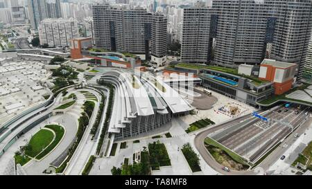 west kowloon station exteior, high speed rail hong kong to shenzhen, part of  Guangzhou–Shenzhen–Hong Kong Express Rail Link - Stock Photo