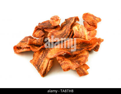 Banana chips fried crispy / banana slice fried for snack isolated on white background - Stock Photo