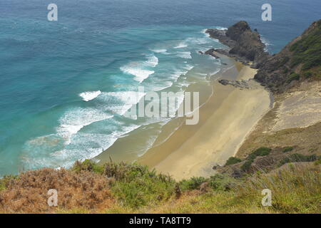 Typical southern Pacific sandy beach with long surf waves in Far North of New Zealand where Tasman Sea meets Pacific Ocean.
