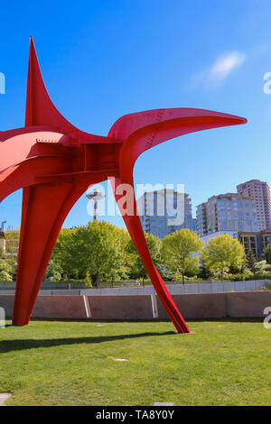 Olympic Sculpture Park and Space Needle, Seattle - Stock Photo