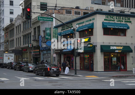 A Subway restaurant sits on a corner in downtown San Francisco. - Stock Photo