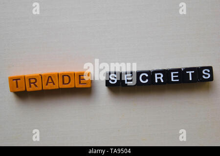 Trade Secrets on wooden blocks. Business and inspiration concept - Stock Photo