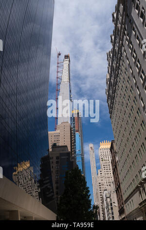 Supertalls Under Construction on 57th Street, NYC, USA - Stock Photo