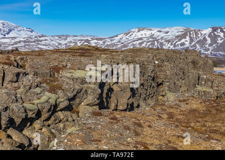 Almannagjá Gorge, a rift valley between the separating North American and Eurasian tectonic plates, in Þingvellir National Park, Iceland - Stock Photo