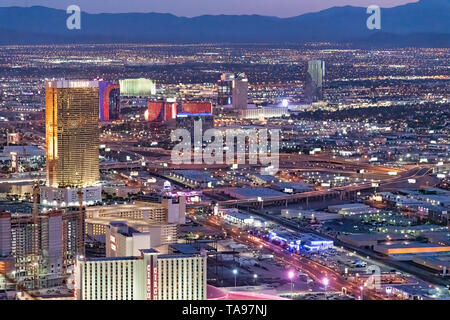 LAS VEGAS, NV - JUNE 29, 2018: Circus Circus Casino night aerial view. Las Vegas is known as the Sin City, City of Lights, Gambling Capital of the Wor - Stock Photo