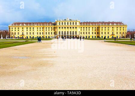 Schonbrunn view and tourists walking around, Vienna, Austria - Stock Photo