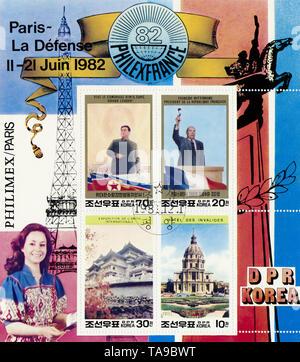 Briefmarken zur Philmex in Paris, LA defense, 1982 aus Nordkorea, mit Kim Il Sung und Francois Mitterrand - Stock Photo