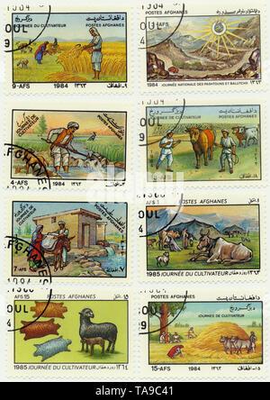 Historic postage stamps from Afghanistan, celebration of the day of agriculture, Historische Briefmarken aus Afghanistan zum Tag der Landwirtschft, 1985 - Stock Photo