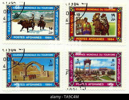 Historic postage stamps from Afghanistan, celebration of the World Tourism Day, Historische Briefmarken aus Afghanistan zum Welttourismustag, 1984 - Stock Photo