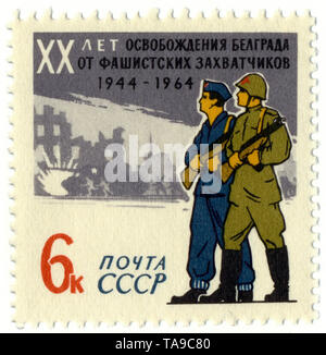 Historic postage stamps of the USSR, political motives, 20th Anniversary of the liberation of Yugoslavia, Belgrade from the Nazis, 1964, Historische Briefmarken, zum 20. Jahrestag der Befreiung Jugoslawien, Belgrad von den Nazis, 1964, UDSSR - Stock Photo