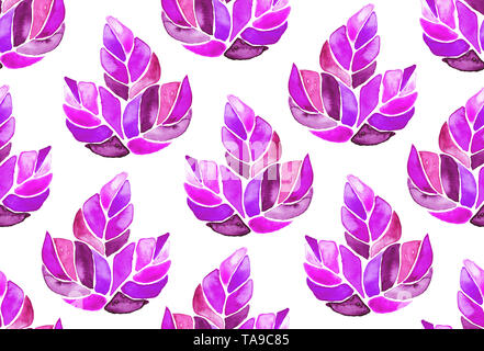Seamless watercolor pattern background maple leaves painted on white, endless artistic textile ornament botanical illustration in boho style - Stock Photo