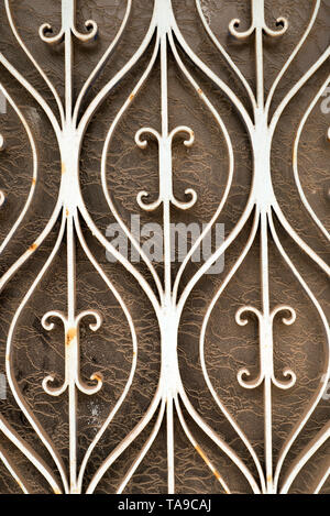 An Ornate Metal Grill On A Window In Greece - Stock Photo