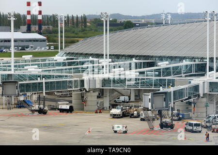 Tarmac. Roissy Charles-de-Gaulle. Paris. - Stock Photo