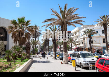 SOUSSE, TUNISIA-CIRCA MAY, 2012: The Habeeb Burguiba street leads from the Bou Jaafar beach to center of city. Sousse is in central-east of country - Stock Photo