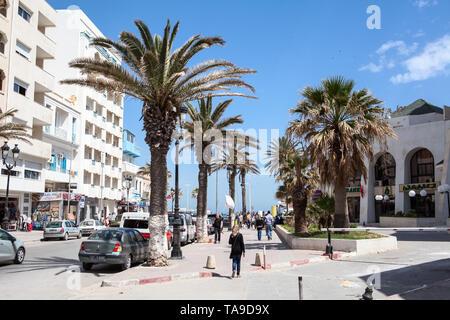 SOUSSE, TUNISIA-CIRCA MAY, 2012: The Habeeb Burguiba street leads to the Bou Jaafar beach, crosses with Avenue Hedi Chaker and Boulevard de la Cornich - Stock Photo