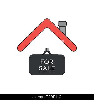 Vector icon concept of for sale hanging sign under house roof. Black outlines and colored. - Stock Photo
