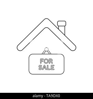 Vector icon concept of for sale hanging sign under roof. Black outlines. - Stock Photo
