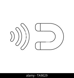 Vector icon concept of magnet attracting. Black outlines. - Stock Photo