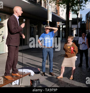 Exeter, UK. 22nd May, 2019. Labour Party rally in Bedford Street and Hustings at Exeter Cathedral. Lord Andrew Adonis MEP candidate for Labour. Credit: Anthony Collins/Alamy Live News - Stock Photo