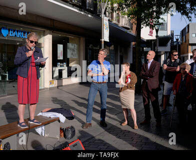 Exeter, UK. 22nd May, 2019. Labour Party rally in Bedford Street Councillor Yvonne Atkinson speaking. Credit: Anthony Collins/Alamy Live News - Stock Photo