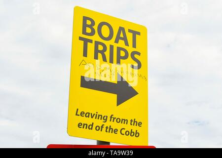 Lyme Regis, Dorset, UK. 23rd May, 2019. UK Weather. A bat trips sign which has been defaced with additional writting as a joke at the seaside resort of Lyme Regis in Dorset on an afternoon of warm hazy sunshine. Picture Credit: Graham Hunt/Alamy Live News - Stock Photo