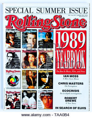 The cover of Rolling Stone magazine, issue 439, Yearbook 1989 - Stock Photo