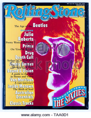 The cover of Rolling Stone magazine, issue 449, The 60s Special Issue featuring John Lennon - Stock Photo