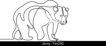 Continuous line going bear on white background - Stock Photo