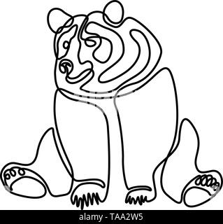 Continuous one line Sitting bear. Vector illustration. - Stock Photo
