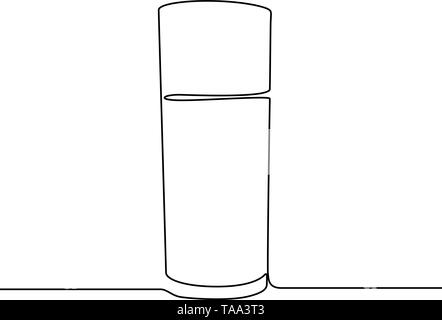Glass of water continuous line vector illustration isolated on white background. - Stock Photo