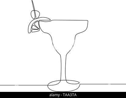 Glass with cocktail continuous one line vector illustration. - Stock Photo