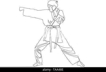 Continuous line drawing Karate girl makes a punch. Vector illustration. - Stock Photo