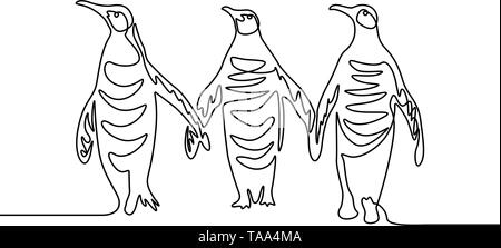 Continuous line drawing Three penguins. Group of penguins.  - Stock Photo