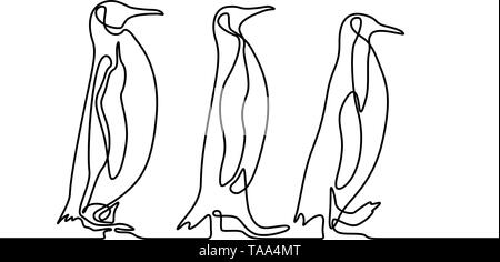 Continuous line drawing three penguins follow each other. Travel concept. Vector. - Stock Photo
