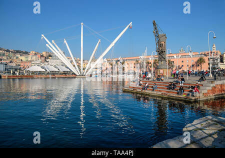 GENOA, ITALY, MARCH 31, 2019 - View of Ancient Harbor (Porto Antico) area of Genoa, Italy. - Stock Photo