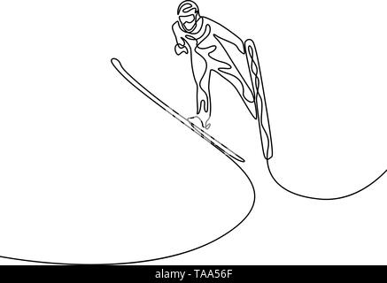 Continuous one line Jumping on the ski. Olympic sport - Stock Photo