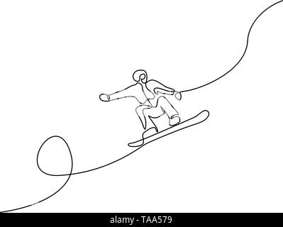 Continuous one line drawing Snowboarder jump vector - Stock Photo