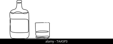 Continuous one line Whiskey and a glass. Vector illustration. - Stock Photo