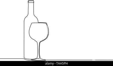 Continuous one line winebottle with wineglass. Vector illustration. - Stock Photo