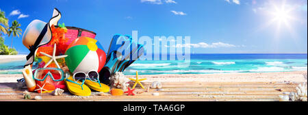Summer Vacation - Accessories On Deck In Tropical Beach - Stock Photo