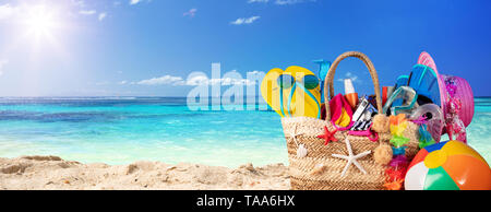 Summer Vacation - Accessories In Beach Bag - Stock Photo