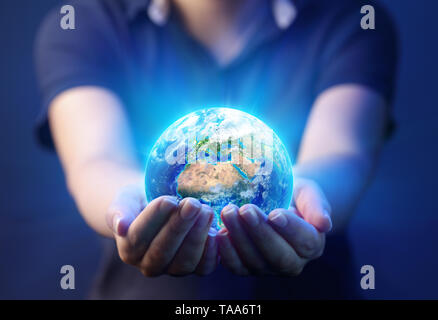 Hands Holding Planet - Earth Day Concept - 3d Rendering - Europe And Africa elements of this image furnished by NASA - Stock Photo