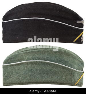 Two garrison caps belonging to an officer of the tank signal unit The garrison cap for the black special clothing issue made of black cloth with officer's braiding around the edge, BeVo-woven insignia, lemon-yellow soutache chevron, black silk lining stamped with the size '57', the leather sweatband damaged in places on the forehead. The field-grey garrison cap made of field-grey cloth with officer's braiding around the edge and lemon-yellow soutache chevron, the outlines of the insignia still clearly discernible, grey lining stamped with the size '57' and leather sweatband, Editorial-Use-Only - Stock Photo