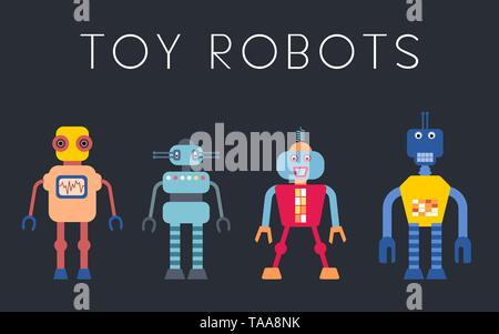Robot vector collection - vintage style toy robots illustration set. - Stock Photo