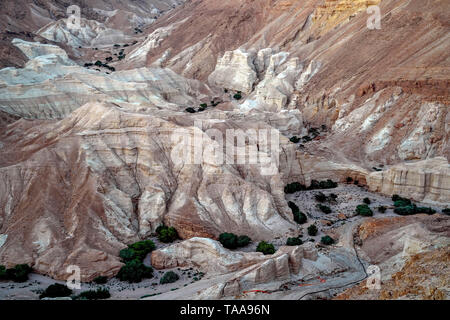 Marl stone formations. Eroded cliffs made of marl. Marl is a calcium carbonate-rich, mudstone formed from sedimentary deposits. Photographed in Israel - Stock Photo