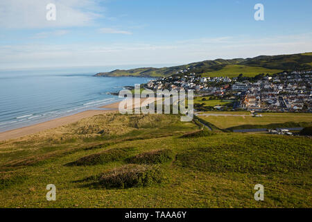 Elevated view of the North Devon town and beach of Woolacombe at sunrise - Stock Photo